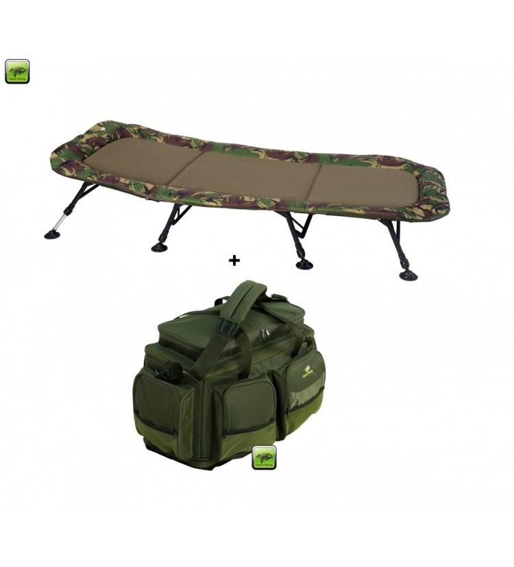 Lehátko Giants Fishing Bedchair Flat Fleece Camo XXL 8Leg + Cestovní Taška Deluxe XL