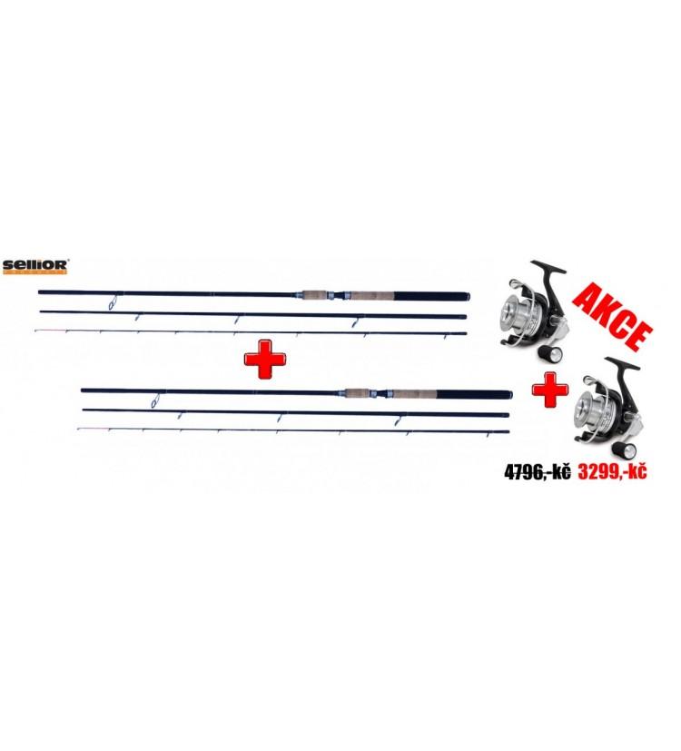 AKCE 1+1 2x Prut Sellior Maxx Feeder 3,6m 90-150g + 2x Naviják Fishing Ferrary The One 30
