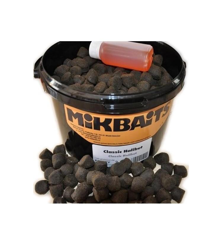 Pelety Mikbaits Classic Halibut 2,5kg - různé průměry + 100ml Lososový Olej