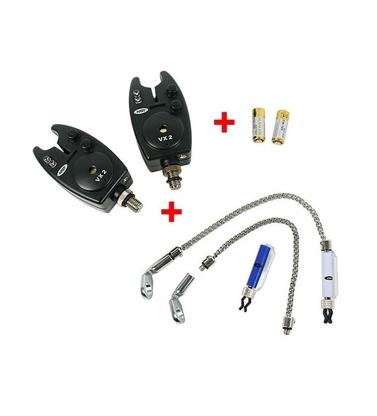 NGT 2x Hlásič Bite Alarm VX2 + 2x Řetízkový Swinger + 2x baterky ZDARMA!!!