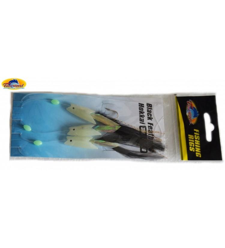 Morský návazec Tsunami Black feathers - háčky 2/0
