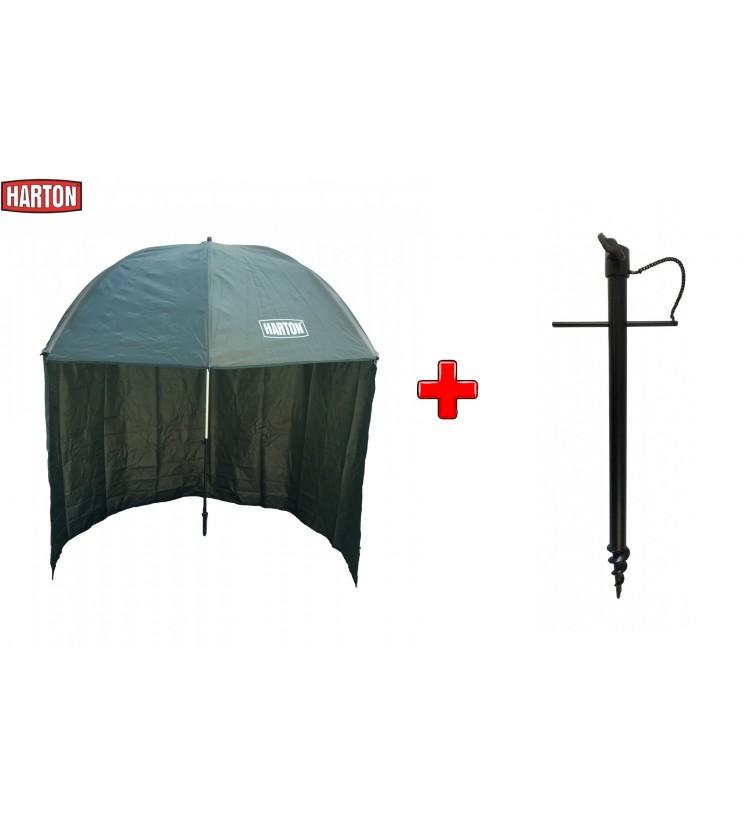 Deštník Harton Half Cover 2,5m + zavrtávací držák deštníku