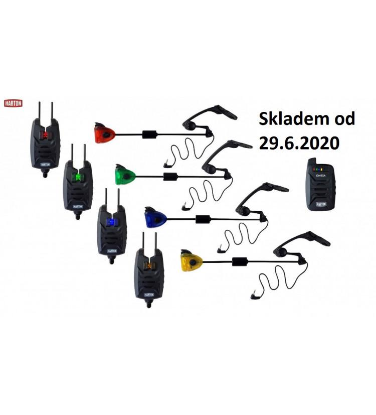 Harton sada hlásičů Omega 4+1 + Indikátory záběru Sellior Carp Swing svítící
