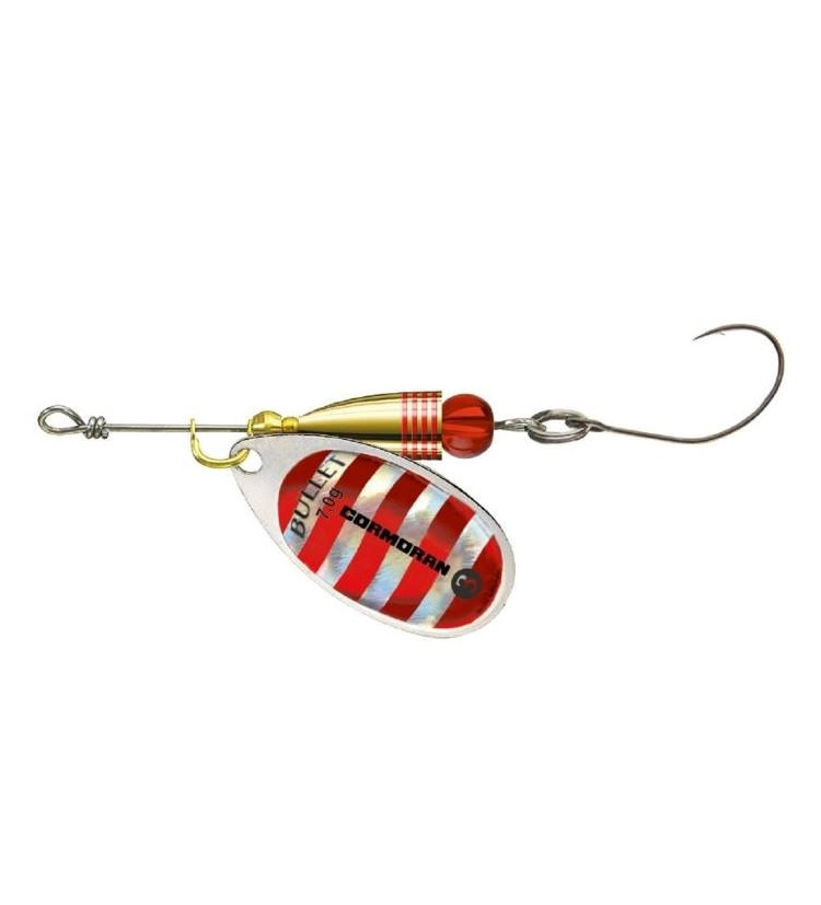 Cormoran Třpytka Bullet Single Hook Silver Red Strips