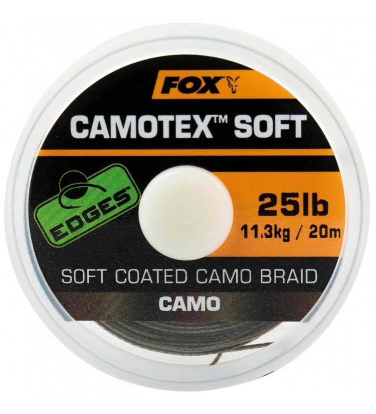 Fox Návazcová Šňůrka Edges Camotex Soft 20 m / Průměr 25 lb / Nosnost 11,3 kg