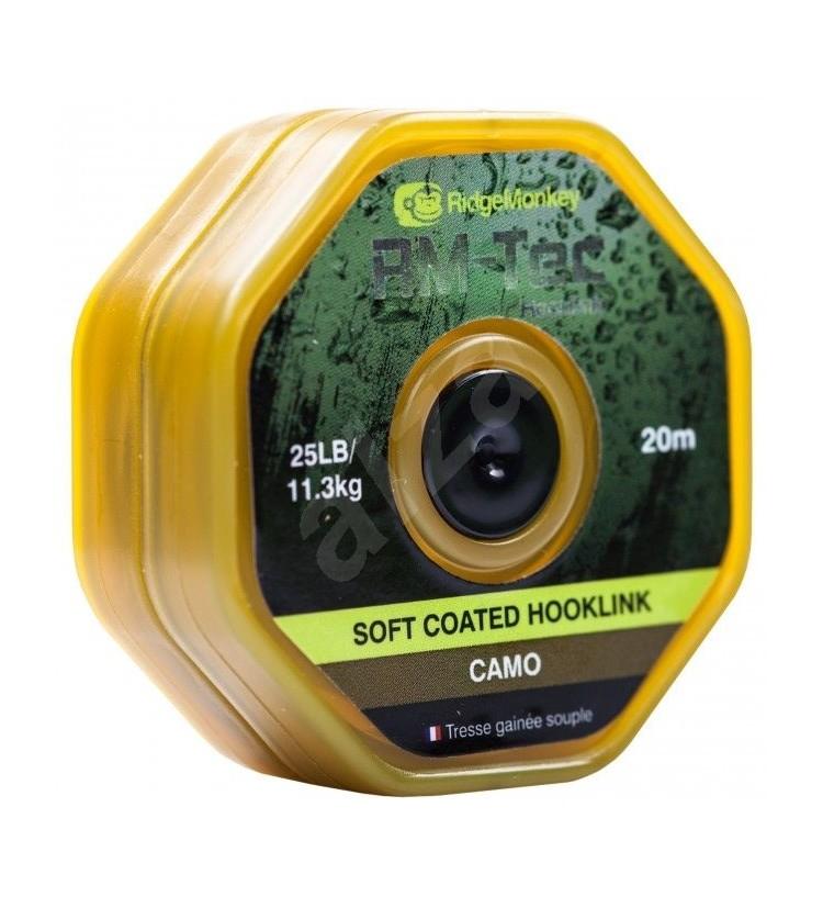 RidgeMonkey RM-TEC SOFT Coated potahovaná šňůra 25 lb /20 m - Camo