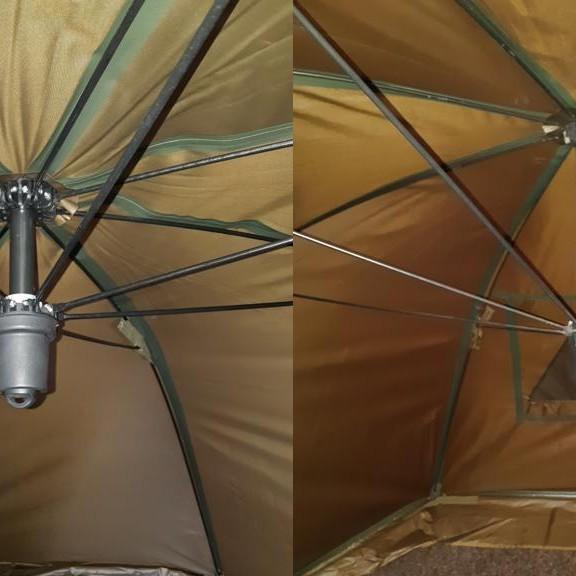Modernizovaná deštníková hlava (vlevo brollo HARTON) scelkovou délkou 19cm oproti konkurenčnímu výrobku sdélkou hlavy 39cm.